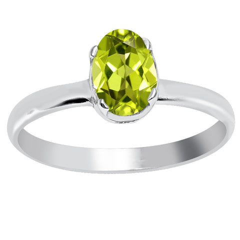 Sterling Silver Oval Shape Peridot Ring