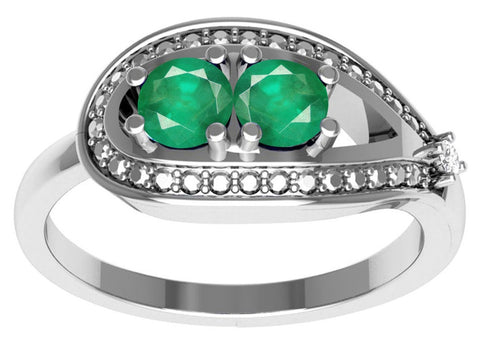 Sterling silver Emerald gemstone ring