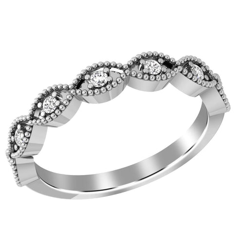 Jeweltique Designs 10K White Gold 0.15 Carat Diamond Bridal Ring Band