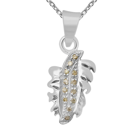 Orchid Jewelry 0.24 TDW Diamond Sterling Silver Leaf Pendant Necklace