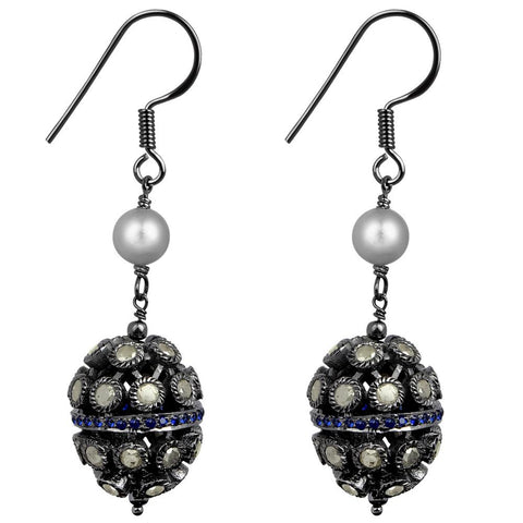 Jeweltique Designs 925 Sterling Silver 8.64 Carat Diamond & Pearl Earrings