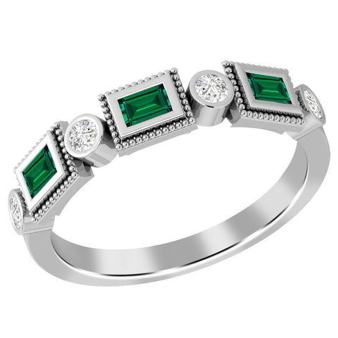 Jeweltique Designs 10K White Gold 0.43 Carat Emerald and Diamond Ring
