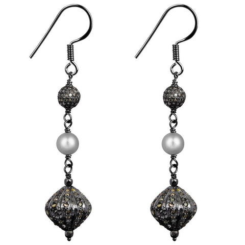 Jeweltique Designs Sterling Silver 5.75 Carat Diamond & Pearl Earrings