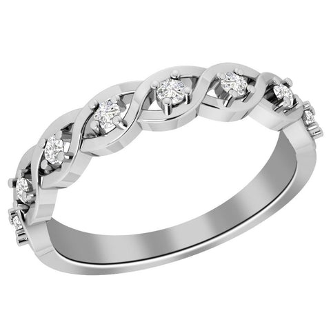 Jeweltique Designs 10K White Gold 0.24 carat Diamond Engagement Band Ring