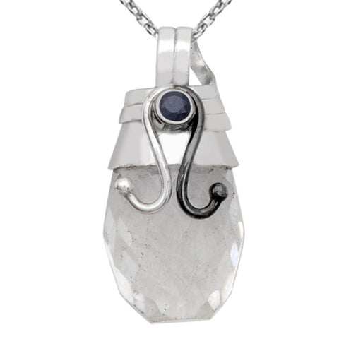 Orchid Jewelry Two-tone Solid Silver 24.15 Carat Crystal Quartz and Blue Sapphire Pendant
