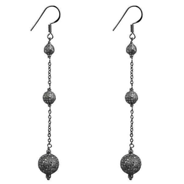 Jeweltique Designs 3.64 Carat Fancy Diamond Black Rhodium Plated Sterling Silver Dangle Earrings