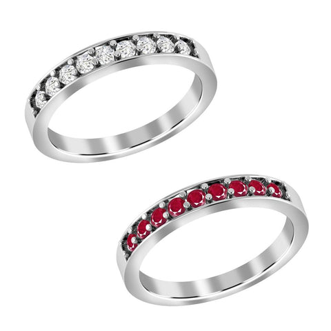 Jeweltique Designs 10K White Gold Two Color of Gemstone Diamond & Ruby Wedding Band Rings