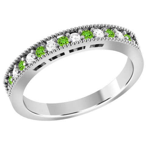Jeweltique Designs 10K White Gold 0.30 Carat Tsavorite and Diamond Anniversary Ring