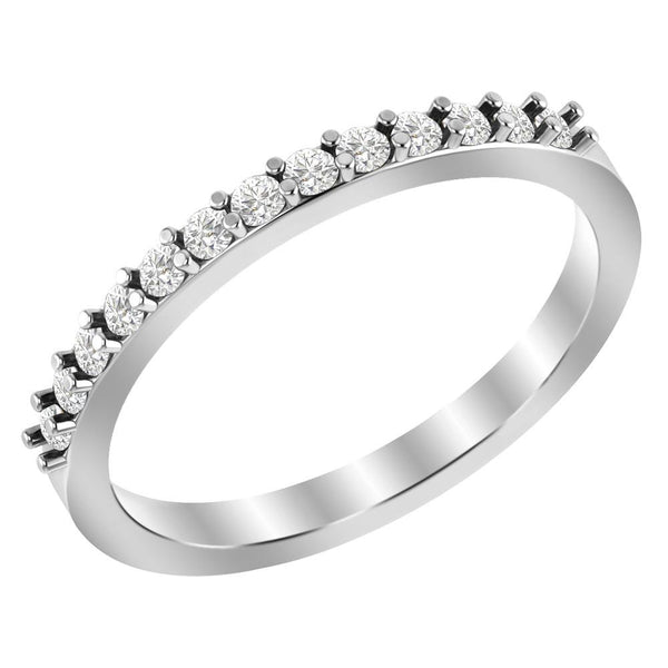 Jeweltique Designs 10K White Gold 0.29 Carat Diamond Stackable Band Ring