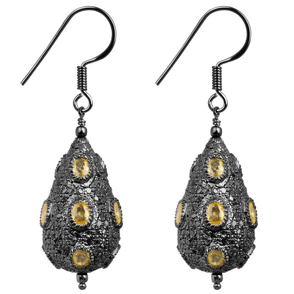 Jeweltique Designs Sterling Silver 11.70 Carat Diamond & Yellow Sapphire Earrings