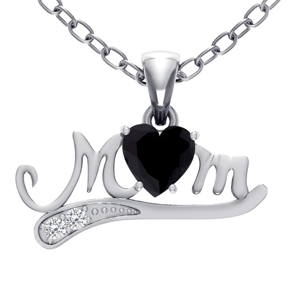 Orchid Jewelry Sterling Silver Black Onyx and Topaz 'Mom' Pendant
