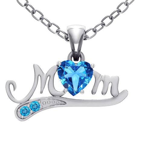 Orchid Jewelry Mom Collection Sterling Silver Blue Topaz Pendant