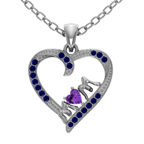 Orchid Jewelry Mom Collection Sterling Silver Amethyst and Sapphire 'Mom' Accent Heart Shaped Pendant
