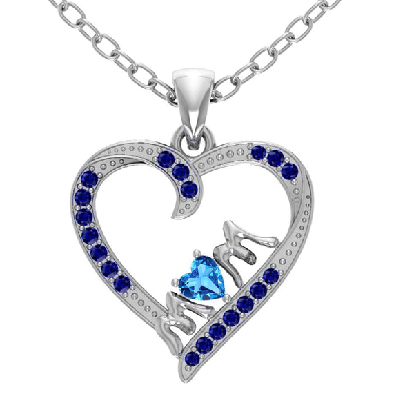 Orchid Jewelry Mom Collection Sterling Silver Blue Topaz and Sapphire Accent Heart Shaped Pendant