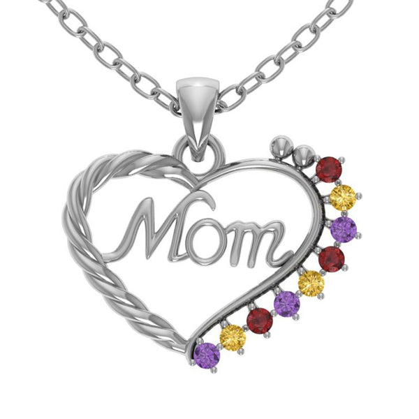 Orchid Jewelry Mom Collection Sterling Silver Amethyst, Citrine and Garnet Prongs Heart Shaped Pendant
