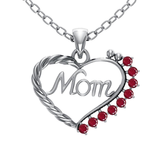 Orchid Jewelry Mom Collection Sterling Silver Ruby Prongs Heart Shaped Pendant