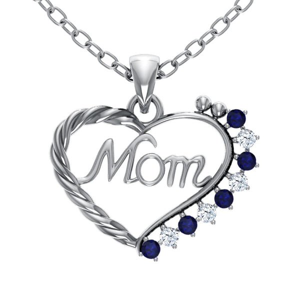 Orchid Jewelry Mom Collection Sterling Silver Sapphire and White Topaz Prongs Heart Shaped Pendant