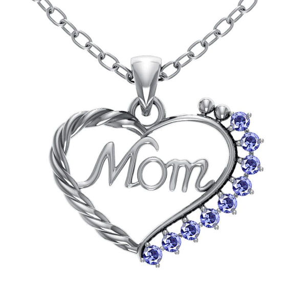 Orchid Jewelry Mom Collection Sterling Silver Tanzanite Prongs Heart Shaped Pendant