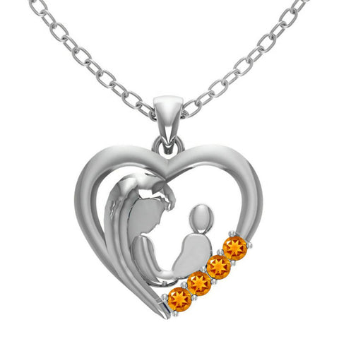 Orchid Jewelry Mom Collection Sterling Silver Citrine Heart Shaped Pendant