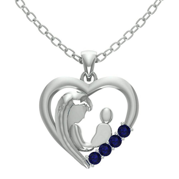 Orchid Jewelry Mom Collection Sapphire Heart Shaped Pendant