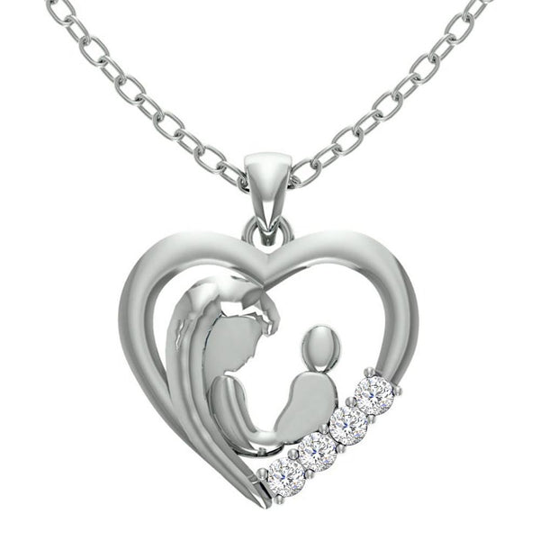 Orchid Jewelry Mom Collection Sterling Silver White Topaz Heart Shaped Pendant