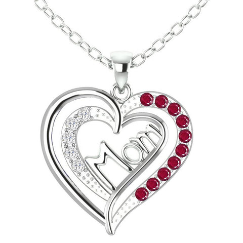 Orchid Jewelry Mom Collection Sterling Silver Ruby and White Topaz Heart Shaped Pendant