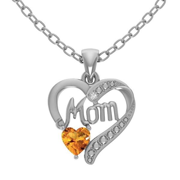 Orchid Jewelry Sterling Silver Diamond and Heart Shaped Citrine 'Mom' Pendant