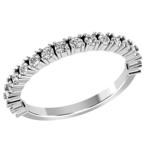 Jeweltique Designs 10K White Gold 0.59 Carat Round Diamond Stackable Band Ring