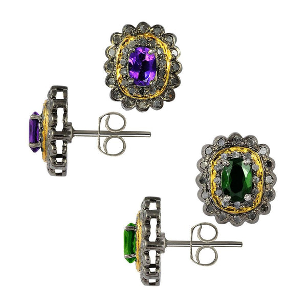 Jeweltique Designs Two Color Gemstone Chrome Diopside and Amethyst with Diamonds 925 Sterling Silver Stud Earrings Your Choice