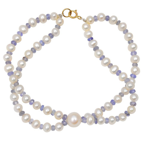Jeweltique Designs 14k Yellow Gold 48.25 Carat Tanzanite & Pearl Beaded Bracelet