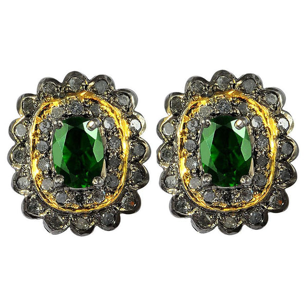 Jeweltique Designs 2.20 Carat Diamond and chrome diopsite 925 Sterling Silver Stud Earring