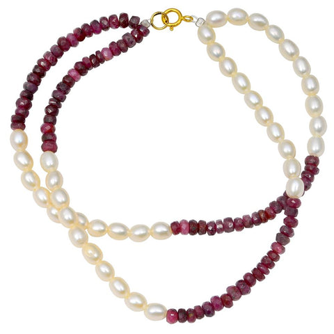 Jeweltique Designs 14k Yellow Gold 45.75 Carat Ruby & Pearl Beaded Bracelet
