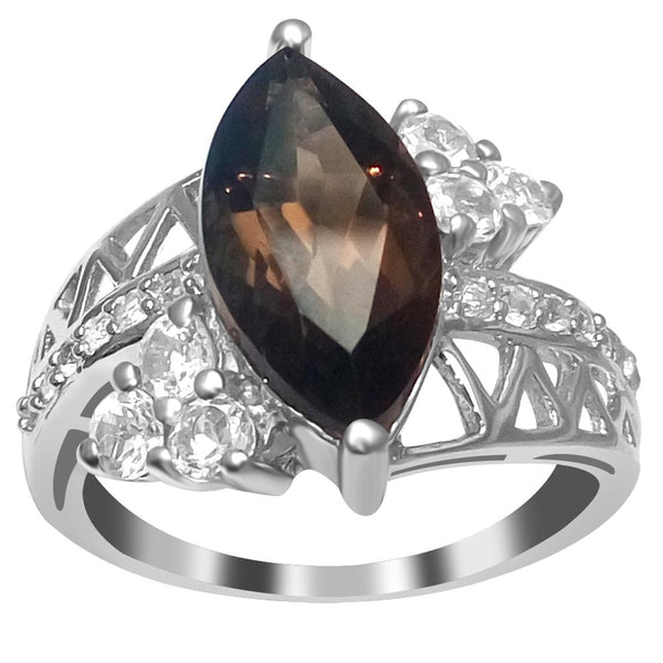 Orchid Jewelry Marquise-Cut Smoky Quartz & Topaz 925 Sterling Silver Engagement Ring
