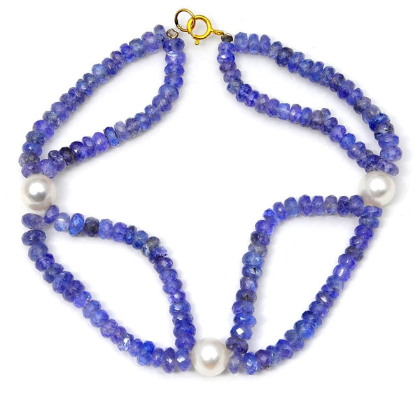 Jeweltique Designs 14k Yellow Gold 61.25 Carat Tanzanite & Pearl Beaded Bracelet