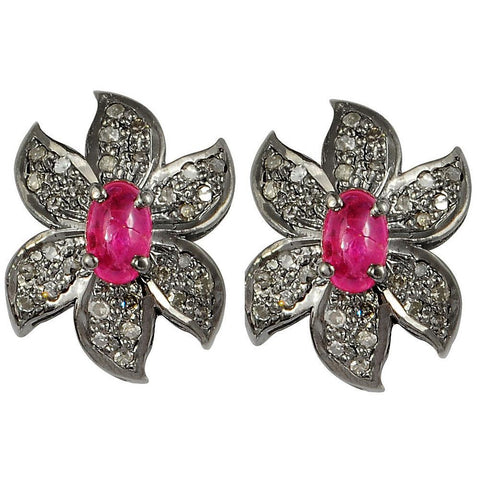Jeweltique Designs 0.97 Carat Genuine Diamond and Ruby 925 Sterling Silver Stud Earring
