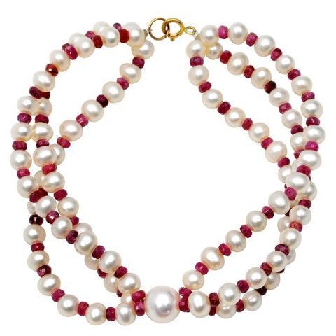 Jeweltique Designs 14k Yellow Gold 70.25 Carat Ruby & Pearl Beaded Bracelet