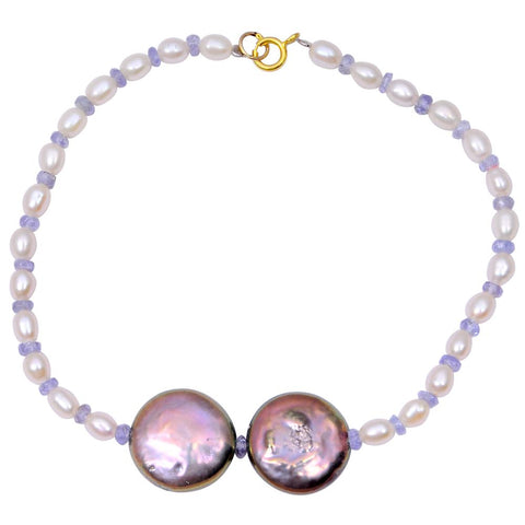 Jeweltique Designs 14k Yellow Gold 30.50 Carat Tanzanite & Pearl Beaded Bracelet