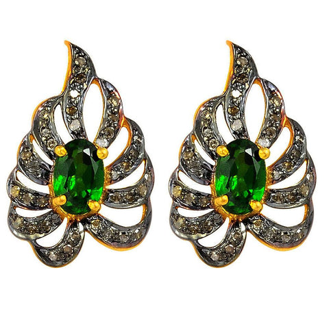 Jeweltique Designs Two-tone Gold and Black Over 925 Sterling Silver 1.50 Carat Oval-cut Chrome Diopside and Diamond Stud Earrings