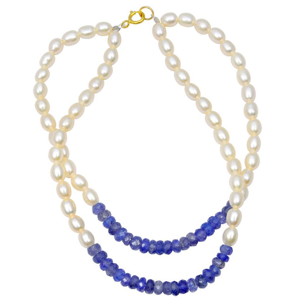 Jeweltique Designs 14k Yellow Gold 46.50 Carat Tanzanite & Pearl Beaded Bracelet