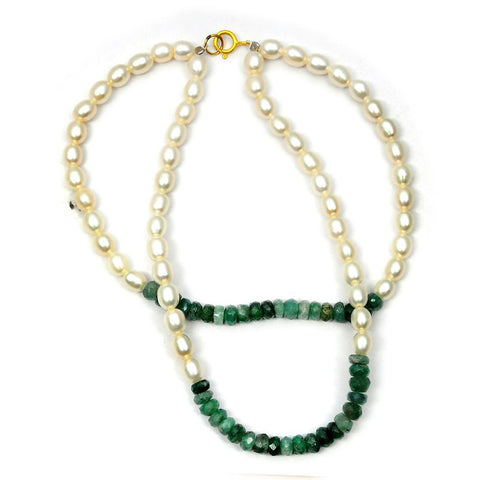 Jeweltique Designs 14k Yellow Gold 44.00 Carat Emerald & Pearl Beaded Bracelet