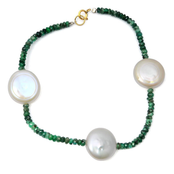 Jeweltique Designs 14k Yellow Gold 40.00 Carat Emerald & Pearl Beaded Bracelet