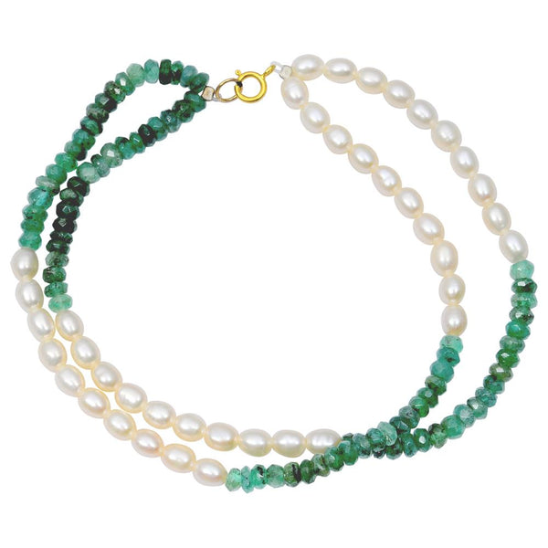 Jeweltique Designs 14k Yellow Gold 41.25 Carat Emerald & Pearl Beaded Bracelet