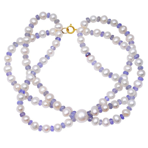 Jeweltique Designs 14k Yellow Gold 79.25 Carat Tanzanite & Pearl Beaded Bracelet