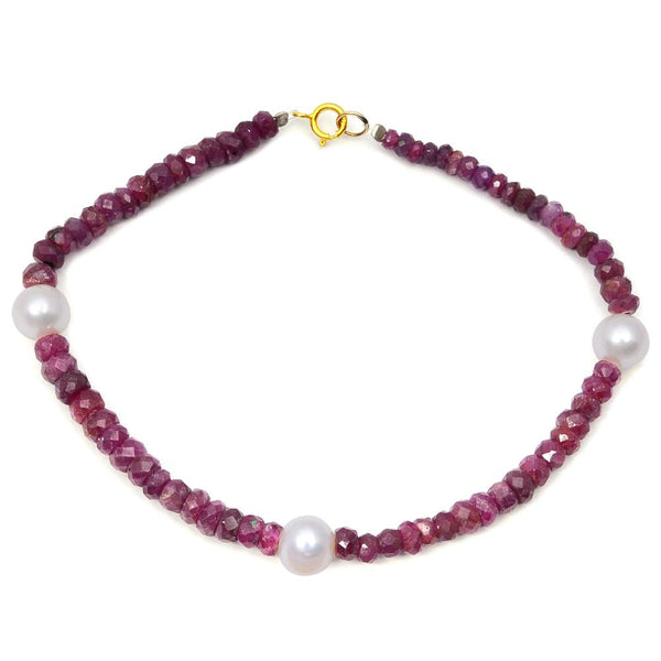Jeweltique Designs 14k Yellow Gold 41.00 Carat Genuine Ruby & Pearl Beaded Bracelet