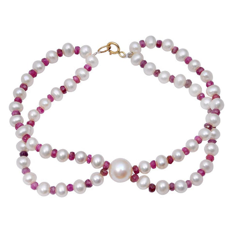 Jeweltique Designs 14k Yellow Gold 46.75 Carat Genuine Ruby & Pearl Beaded Bracelet