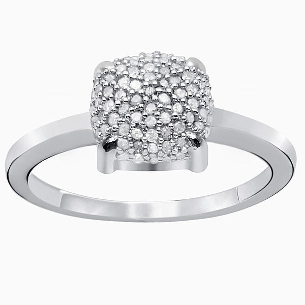 Orchid Jewelry 925 Sterling Silver 0.24 Carat Cushion Shape Pave Diamond Ring