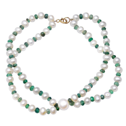 Jeweltique Designs 14k Yellow Gold 49.50 Carat Emerald & Pearl Beaded Bracelet