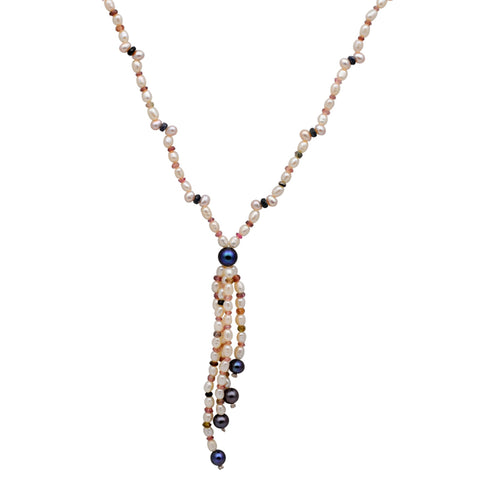 Jeweltique Designs 14k Gold 97.75 Carat Tourmaline, Sapphire, White & Grey Pearl Beaded Necklace