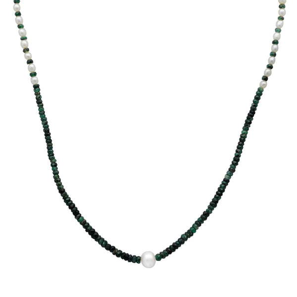 Jeweltique Designs 14k Yellow Gold 50.50 Carat Emerald & Pearl Beaded Necklace
