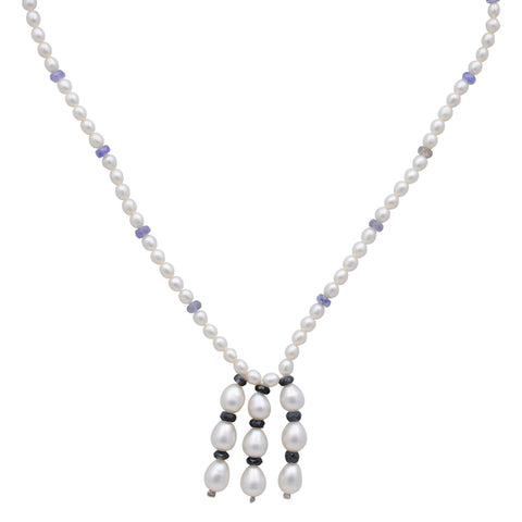 Jeweltique Designs 14k Gold 73.25 Carat Tanzanite, Sapphire & Pearl Beaded Drop Necklace